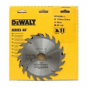 Dewalt DT4028 Series 40 170mm x 30mm 20T TCT Circular Saw Blade for Wood & PVC