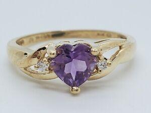 10k Yellow Gold Purple Heart Amethyst CZ Sides Size 6 Ring Estate 1.6 Grams Nice