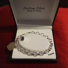 Kohl's Sterling Silver Heart Charm Beaded Bracelet-Made in Italy New!