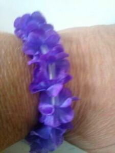 Purple Hawaiian Fabric Lei Wrist Ankle Bracelets Bulk Quantities Select