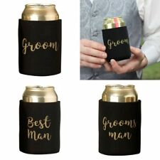 Wedding Stubby Holder Cooler Bridal Party Favour Groomsman Gifts Gold