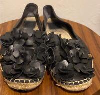 Tory Burch Black Leather Flower Espadrille Flats Size 10.5