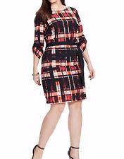 Jete Scarlet Plaid Belted Shift Dress Size 1X (14W-16W)