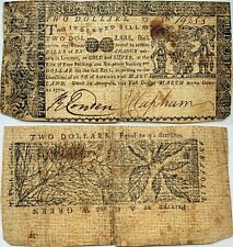 1770 Maryland $2 bill - with engravings of SPANISH COINS on front, nice VF!