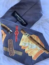 Cromley & Finch Havana Cuban Cigars Silk Tie Necktie Handmade England Grey