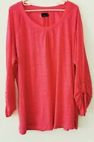 ANDREA Shirt Longsleeve Pink 100% Leinen Tunika T-Shirt Gr. XXL  #LRZ1025