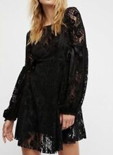NWT $128 Free People OB725148 Ruby Crochet Lace Mini Dress Small Black