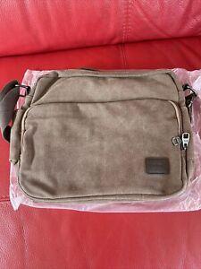 Men's Brown Messenger Bag  Cross Body Shoulder Utility Travel Work