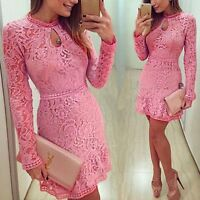 Summer Sexy Women Bodycon Evening Cocktail Party Long Sleeve Floral Mini Dress