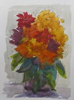 "Watercolor Floral Fall Autumn Bouquet by Kadi Love Keener Art Original 12X9"""