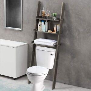 MyGift 3 Tier Gray Wood Over The Toilet Leaning Bathroom Ladder Shelf Rack