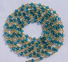 5 Feet London Blue Topaz Hydro Faceted 24k Gold Plated Rosary Beaded Link Chain