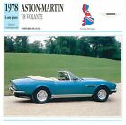 Aston Martin V8 Volante Cabriolet 1978 GB/UK CAR VOITURE CARTE CARD FICHE