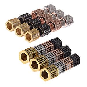 3 Rows Zircon Gemstones Hexagon Micro Pave Connector Charm Beads DIY Bracelets