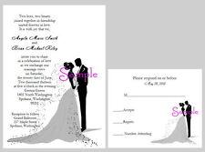 100 Personalized Custom Elegant Bride and Groom Wedding Invitations Cards Set
