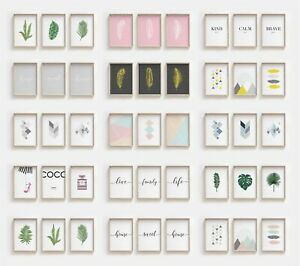 Set of 3 Modern Wall Art Prints  For Home Living Room Bedroom - Minimalist Decor
