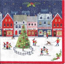 Lot de 4 Serviettes en papier Village à Noël Decoupage Collage Decopatch