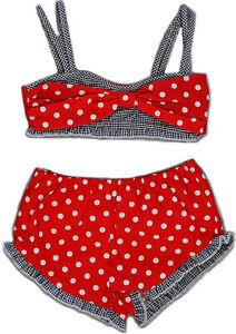 Cute 50s POLKA DOTS Gingham KINDER Bikini Rockabilly