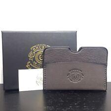 GHURKA 'Knotch' Charcoal Gray Leather Card Case Holder Wallet (MSRP $195)