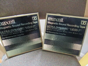 "2 LOT of MAXELL 7"" REEL-to-REEL TAPES. MODEL UD35-7. 1/4"" 1800' 1mil-USED-JAPAN"