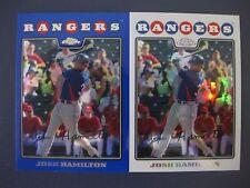 (2) JOSH HAMILTON CARD LOT 2008 TOPPS CHROME REFRACTOR/BLUE REFRACTOR #116