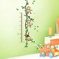 Monkey Height Chart Baby Kid Nursery Room Wall Decals Decor Removable Stickers