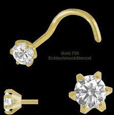 750 Gold Nasenpiercing 6 Stotzen 2,5 mm mit Zirkonia   Nasenstecker Spirale