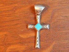 Navajo Blue Turquoise Cross Cast Sterling Silver 925 Necklace Pendant