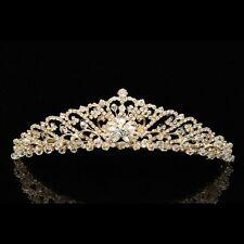 Gold Bridal Floral Rhinestones Crystal Wedding Crown Tiara 8758