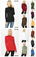 WOMEN Mock Turtle Neck LONG SLEEVE TOP SOFT COTTON STRETCH T SHIRT Reg Plus S-3X