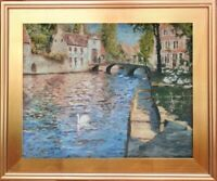 Belgium Bruges Signed Original Oil Painting Cityscape Landscape Fine Art Framed