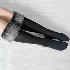 Womens Socks Boot Leg Warmers Faux Fur Fleece Fluffy Leggings Liners Furry Cuff