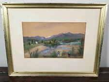Antique Moses B Russell American Primitive Folk Art Painting 19th C Hudson River