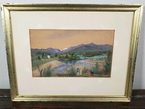 Antique Moses Russell American Primitive Folk Art Painting 19th Century Children