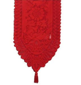 Traditional 180cm x 33cm Christmas Table Lace Red Runner Decoration Cloth