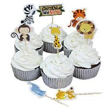 24Pcs Cute Decorative Cupcake Muffin Toppers Wild Animals Zoo Zebra Lion Tiger H