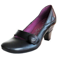 RRP £89 PIKOLINOS WOMENS COURT SHOES SLIP ON HEELS BLACK LEATHER FARBE  UK 3-7.5