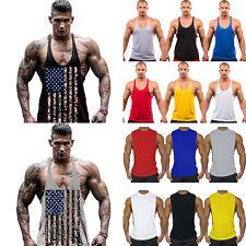Men's Sports Bodybuilding Muscle Vest Tank Top Workout Gym Stringer T-shirt Tee