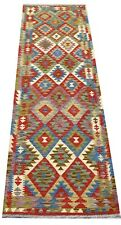 Afghan Handmade Nomadic Tribal Unique Multi Coloured Wool Kilim Runner 82x295cm