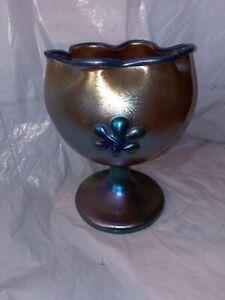 Vintage  Iridescent Art Glass Vase Bohemian Loetz Kralik Czecho Slovania Pinched
