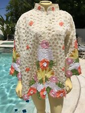 Vintage 70's Pacific Islands Hawaiian Embroidered Jacket Shirt Cover Up Women's