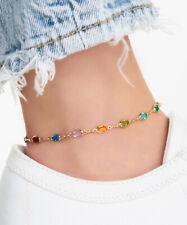 Anklet Layered In 18K Gold Sevil Multi Color Oval Crystal Baguette