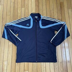 Adidas Predator 3 Stripe Full Zip Athletic Track Jacket Soccer Blue Mens Size L
