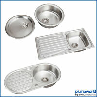 Modern Stainless Steel Inset Kitchen Sink Various Styles 1.0 Single Bowl + Waste