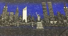 """3 Yds Pre 9/11 Twin Towers - Fabric Traditions Cotton Glitter Fabric """"Rare"""" 1998"""