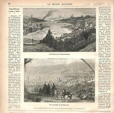 Bosphore Constantinople Istanbul Turquie Ottoman/Vue Liban Beyrouth GRAVURE 1877