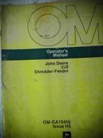 Vintage John Deere 230 Shredder-Feeder OM-GA10450 Operators Manual