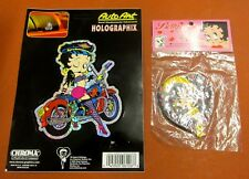 BETTY BOOP HOLOGRAPHIX STICKER MOTORCYLE 1996 RUBBER HEART UMBRELLA LOT OF 2