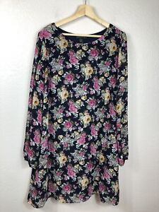 Forever 21 Plus Size Womens 2X Floral Print Shift Dress Sheer Long Sleeves