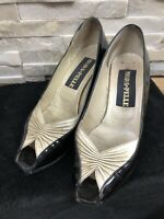 Moda Pelle Ladies Size UK 3.5 EU 36.5 Black Gold Peep Toe Patent Court Shoes